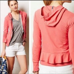 Anthropologie Saturday Sunday Ruffle Zip Hoodie M